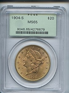 Liberty Double Eagle, $20, 1904 - S, 9046, Obverse