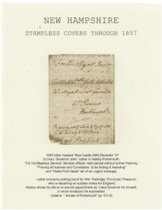 New Hampshire Stampless Covers Through 1857