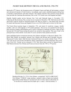 Packet Mail Between the USA and France, 1783-1793