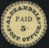 Alexandria Va. Postmasters ProvisionalOne of six recorded examplesSold by Siegel in March 2012 for $632,500A world-record price for a Postmasters Provisional stamp