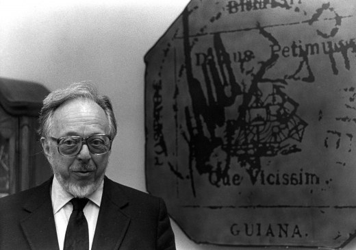 Robert A. Siegel photographed next to the British Guiana wall display