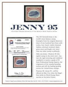 Siegel to Offer Inverted Jenny Position 58Graded XF-Superb 95