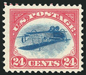 1918 24-cent Inverted JennySold by our firm in 2007 for $977,500The world-record price for a 20th Century United States Stamp