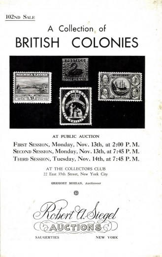 Catalog Cover Sale no. 102 — Siegel Auction Galleries