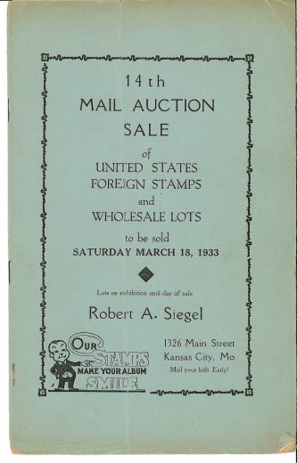 Catalog Cover Sale no. 14 — Siegel Auction Galleries