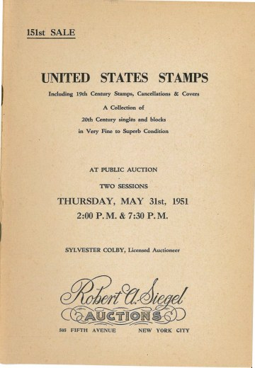Catalog Cover Sale no. 151 — Siegel Auction Galleries