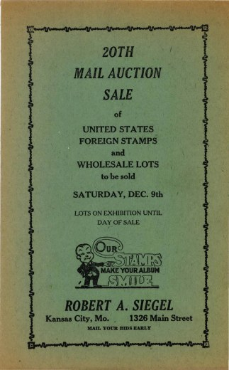 Catalog Cover Sale no. 20 — Siegel Auction Galleries