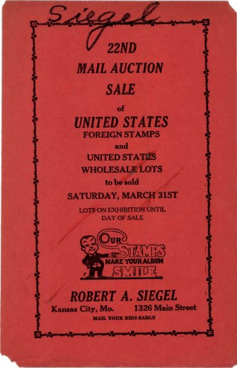 Catalog Cover Sale no. 22 — Siegel Auction Galleries