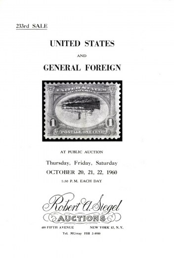 Catalog Cover Sale no. 233 — Siegel Auction Galleries