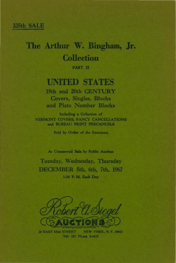 Catalog Cover Sale no. 325 — Siegel Auction Galleries