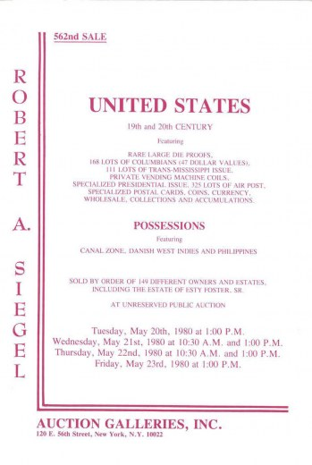 Catalog Cover Sale no. 562 — Siegel Auction Galleries