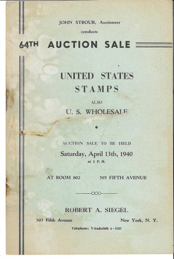 Catalog Cover Sale no. 64 — Siegel Auction Galleries