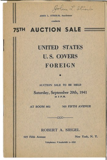 Catalog Cover Sale no. 75 — Siegel Auction Galleries