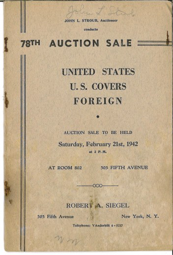 Catalog Cover Sale no. 78 — Siegel Auction Galleries