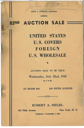 Catalog Cover Sale no. 82 — Siegel Auction Galleries