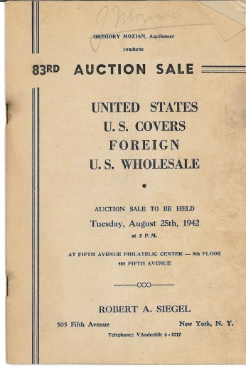 Catalog Cover Sale no. 83 — Siegel Auction Galleries