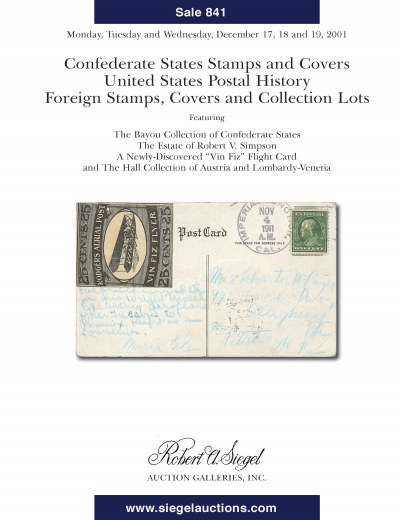 Catalog Cover Sale no. 841 — Siegel Auction Galleries
