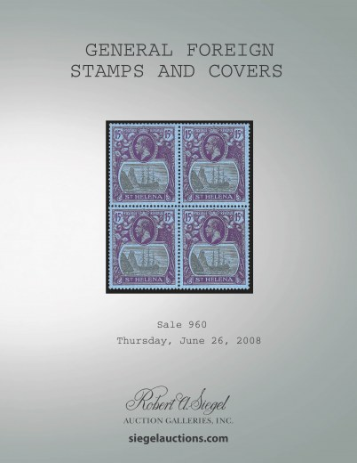 Catalog Cover Sale no. 960 — Siegel Auction Galleries