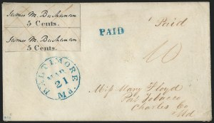 Baltimore Md. Postmaster's Provisional-5c Pair