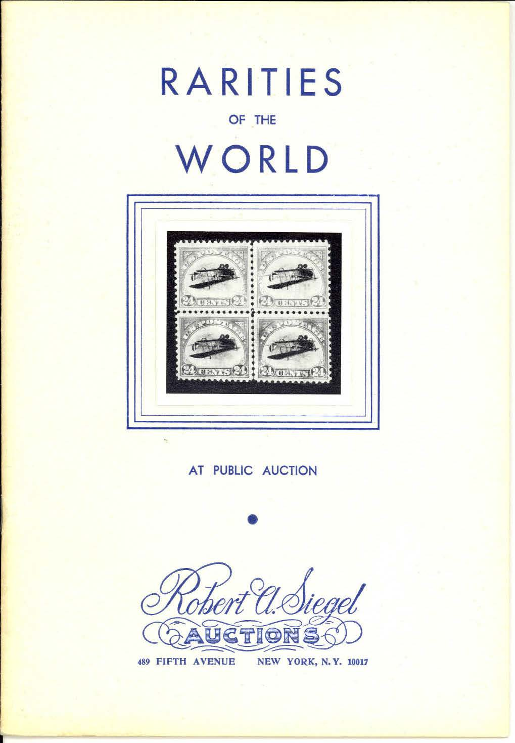 The first Rarities of the World sale held by Siegel on February 27, 1964 — Siegel Auction Galleries