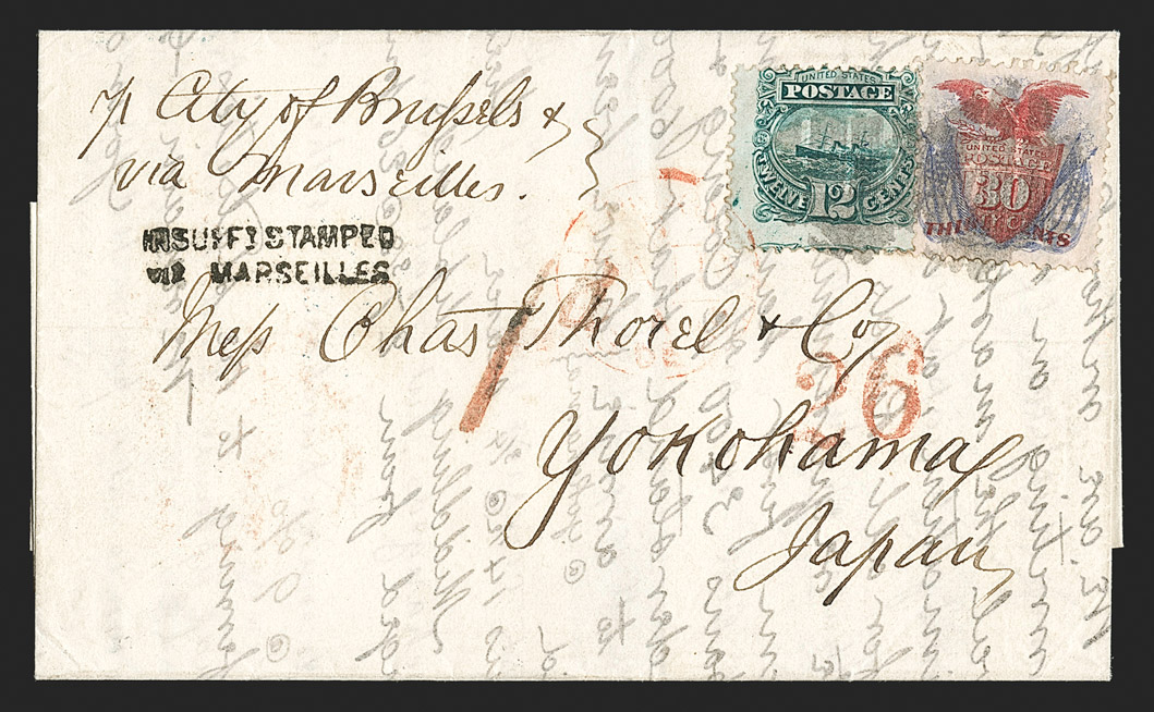 A Beautiful and Rare 12¢ and 30¢ 1869 Pictorial Combination on Cover to Japan