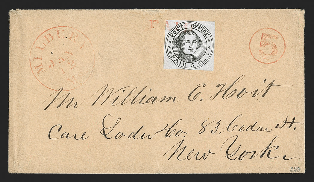 A Superb Millbury Postmaster's Provisional Stamp on Cover