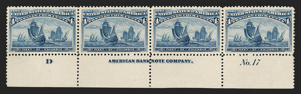 The Better Centered of Two Known 4¢ Columbian Blue Error Imprint Strips