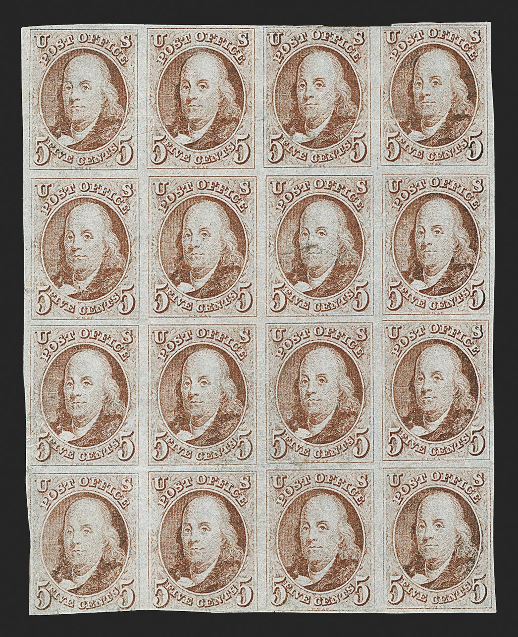 The Celebrated Lord Crawford Block of the 5¢ 1847 First Issue