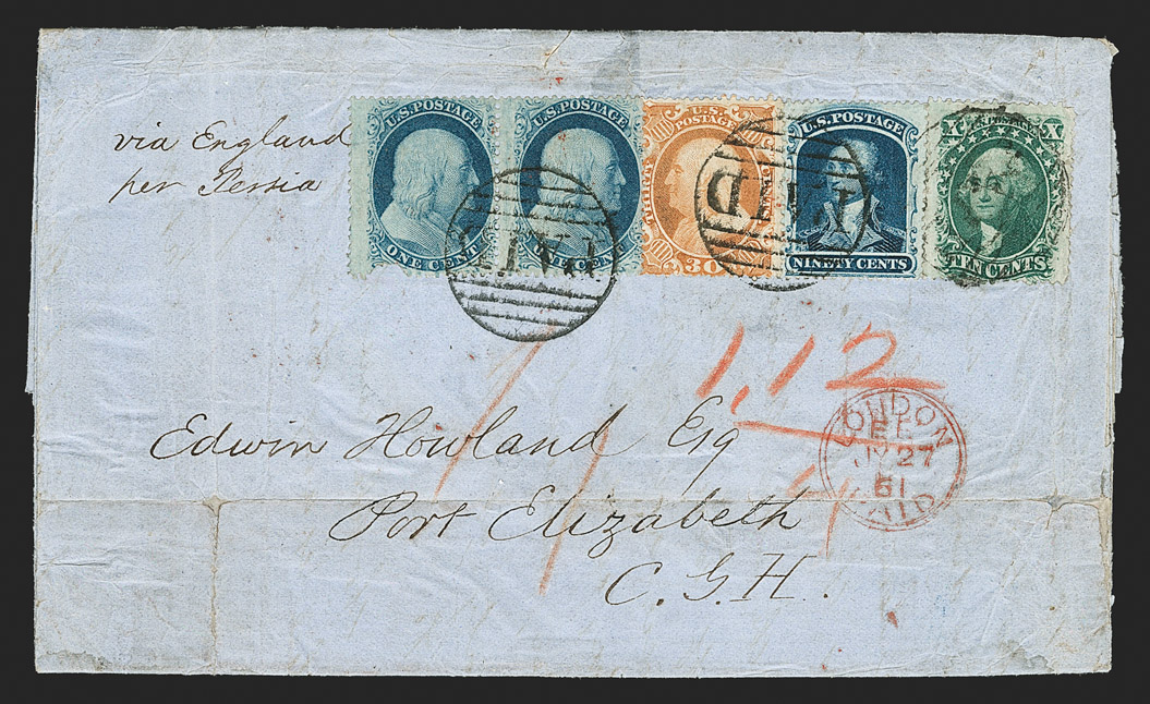 The Famous 'Newbury' 90¢ 1860 Cover to The Cape of Good Hope