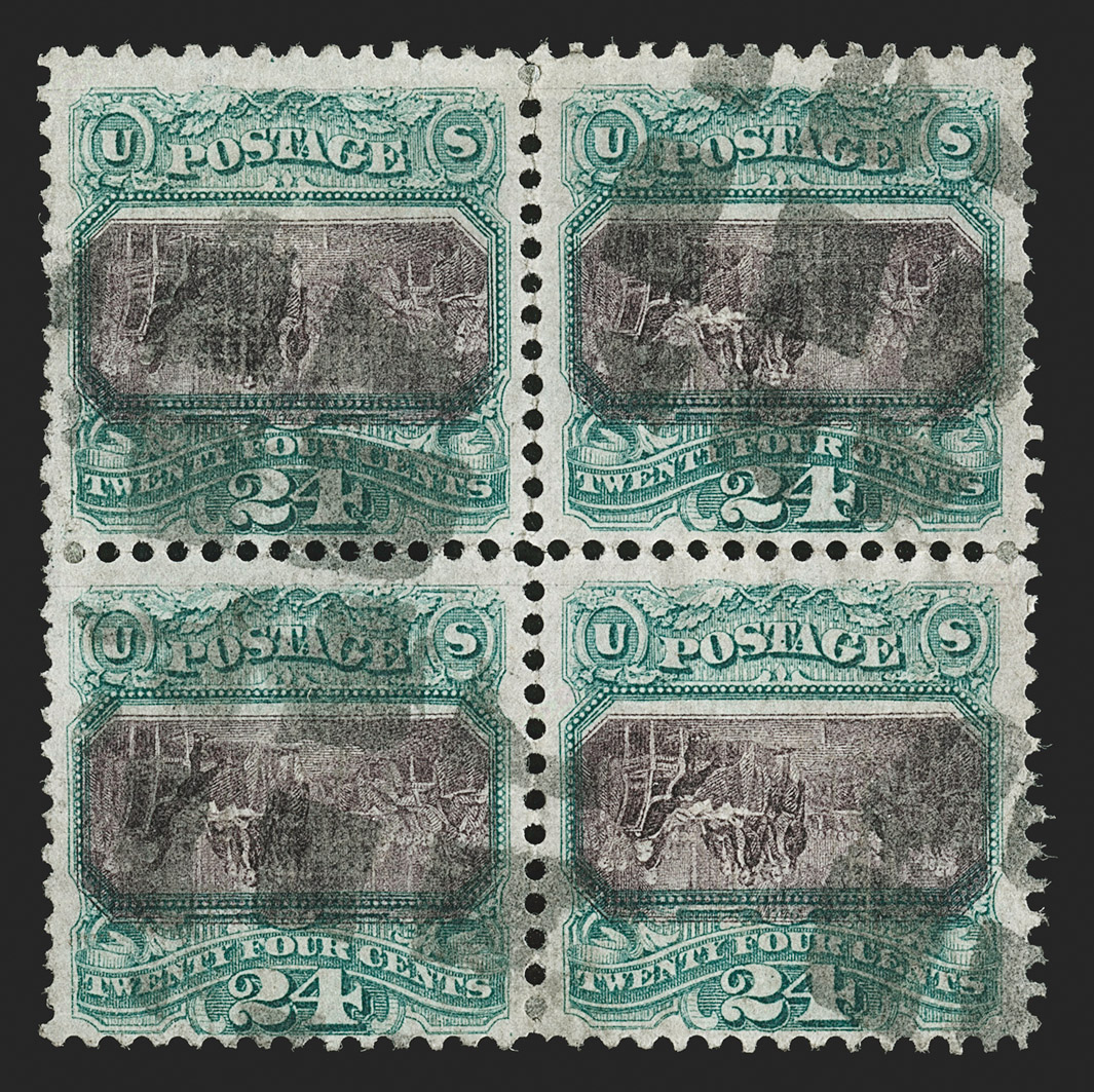 The Famous and Unique Block of the 24¢ 1869 Pictorial Inverted Center