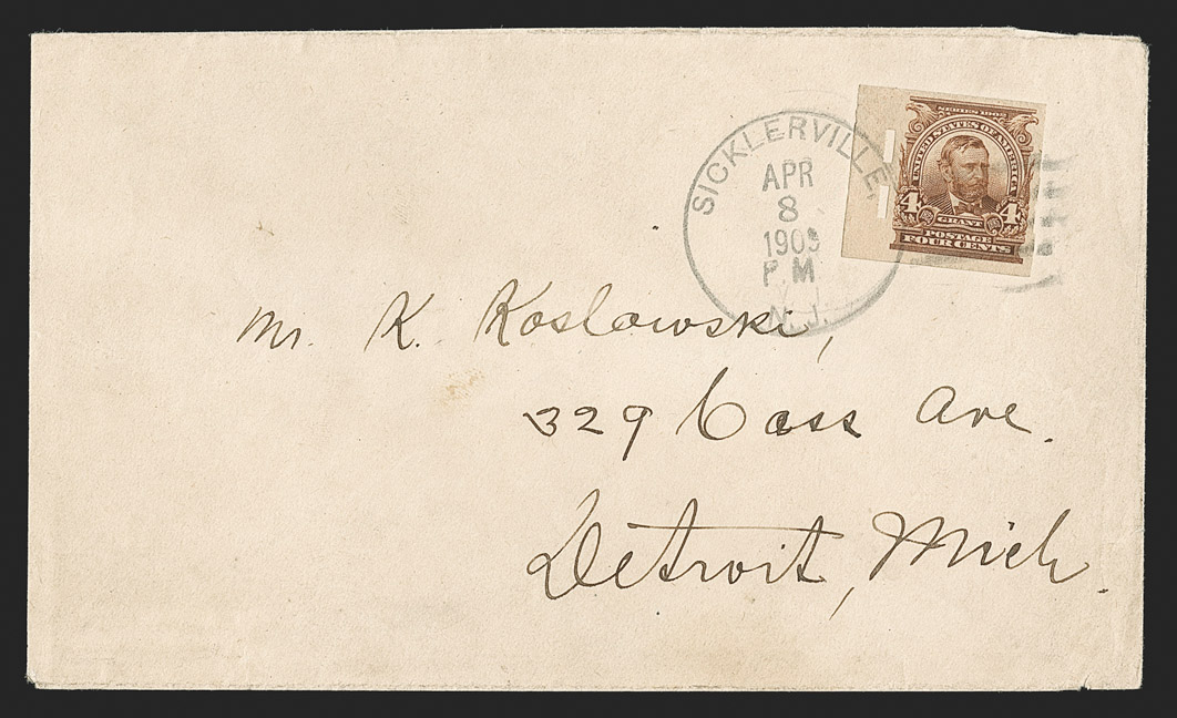 The Finest 4¢ 1908 Imperforate on One of Four Known Covers