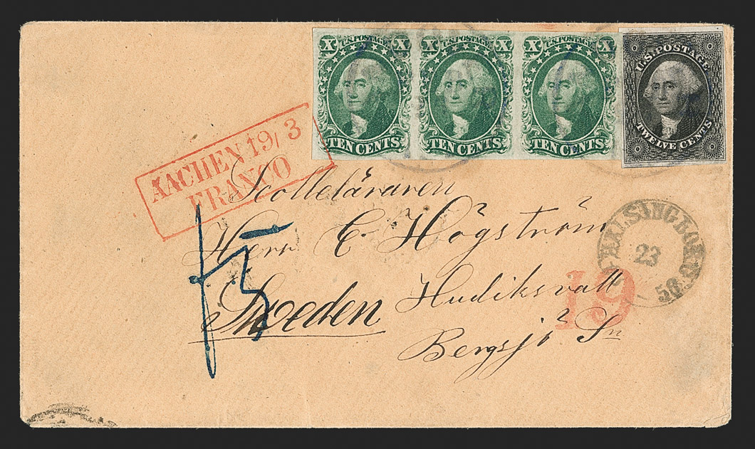 The Imperforate 10¢ Type IV and 12¢ 1851 on a Magnificent Cover to Sweden