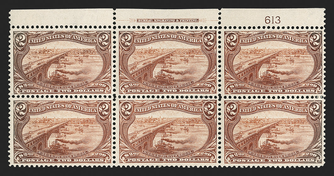 The Only Known $2 Trans-Mississippi Plate Block of Six