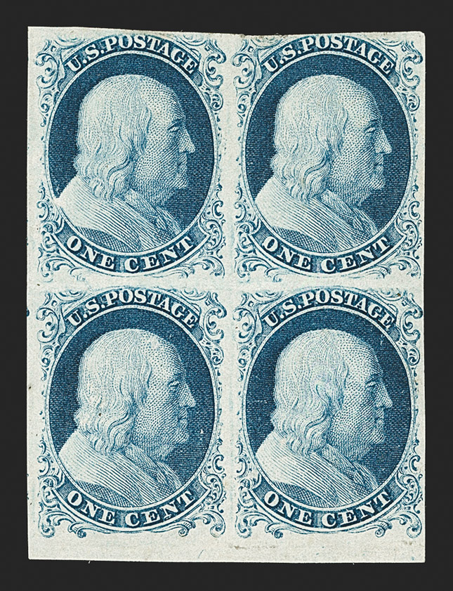 The Only Known 1851 Imperforate Block with the Rare 1¢ Type Ia