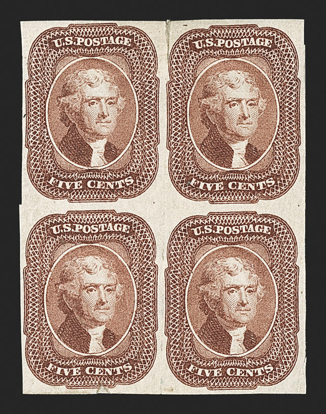 The Only Known Unused Block of the 5¢ 1856 Imperforate