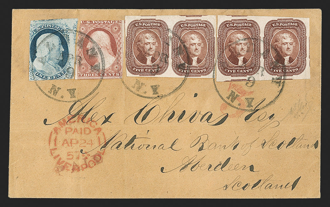 The Spectacular and Only Known 5¢ 1856 Issue Full Cover to Great Britain