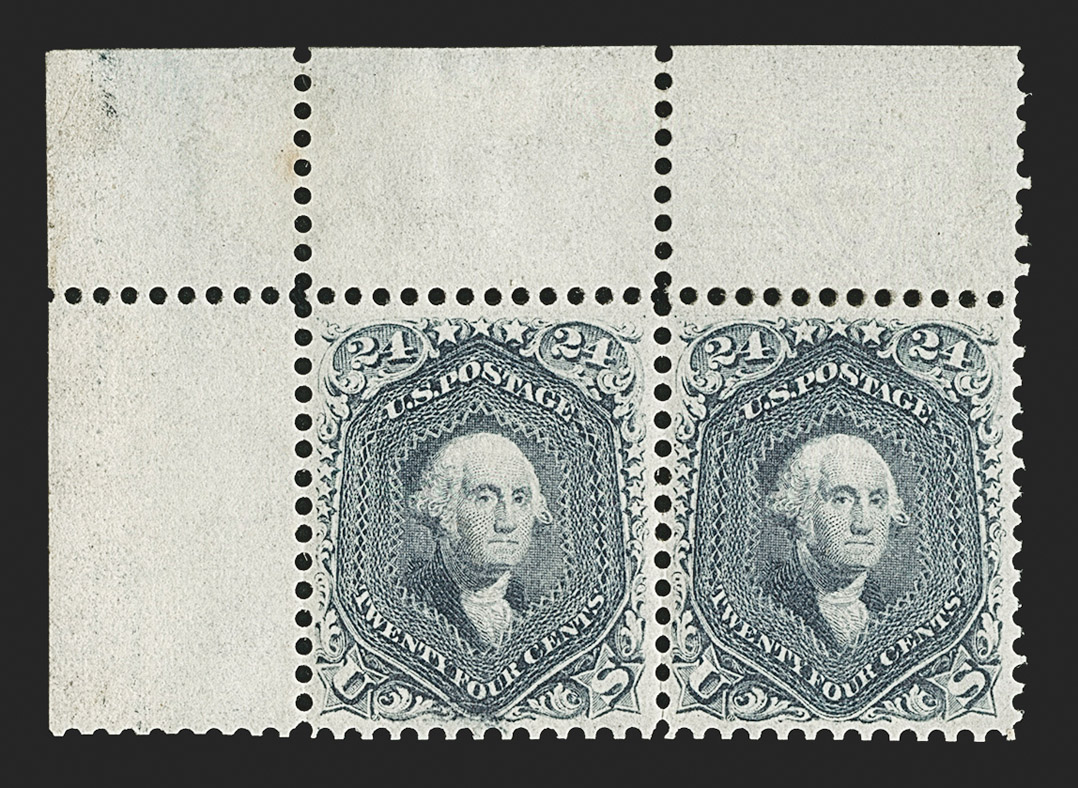 The Superb and Incomparable Sheet-Margin Pair of the 24¢ Steel Blue 1861 Issue