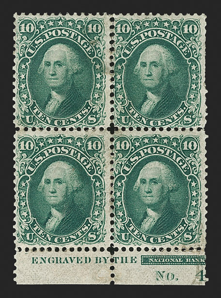 The Unique Plate Block of 10¢ Type I 1861 Issue