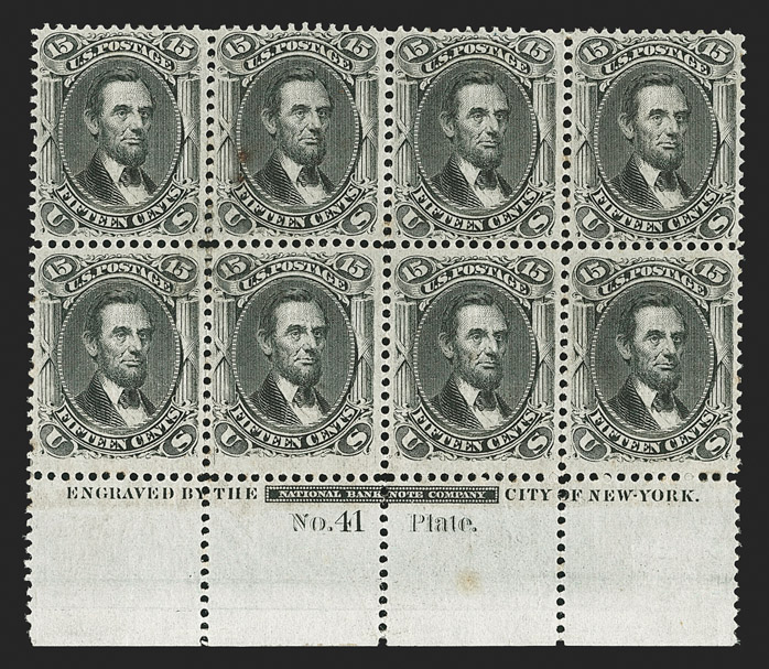 Unique 1868 Grilled Issue Plate Blocks 2